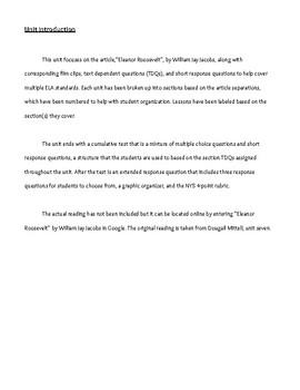 Eleanor Roosevelt Unit Plan