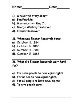 Eleanor Roosevelt Reading Comprehension