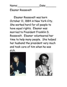 Eleanor Roosevelt Reading Comprehension