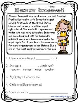 Eleanor Roosevelt Reading Passage