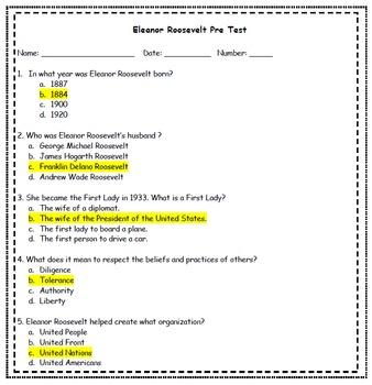 Eleanor Roosevelt Teaching Packet REVAMPED!!!