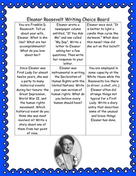 Eleanor Roosevelt Writing Choice Board