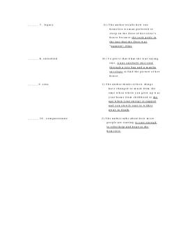 Eleanor Roosevelt and Homeless Vocabulary Quiz Worksheet