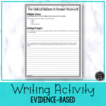 Eleanor Roosevelt & The U.N. Reading & Writing Activity (SS5H4, SS5H4f)
