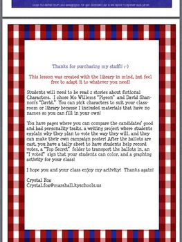 Elect-a-Character Elementary Election Unit for the Library or Classroom