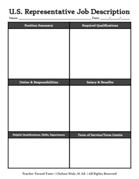 Elected Federal and State Officials Job Descriptions Graphic Organizers