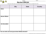 Elected Government Officials Graphic Organizer #2 - Mayor, Governor, President