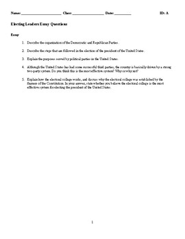 Electing Leaders Discussion/Essay Questions