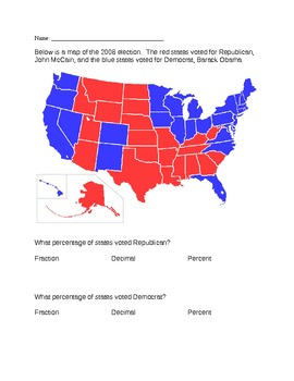 Election 2012: Converting Fractions/Decimals/Percents Using Red/Blue States