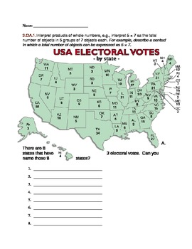 Election 2012: Electoral College Lesson on Repeating Addition/Multiplication
