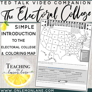 Election 2016 Electoral College Explained w/ Coloring Map & Comprehension ?'s