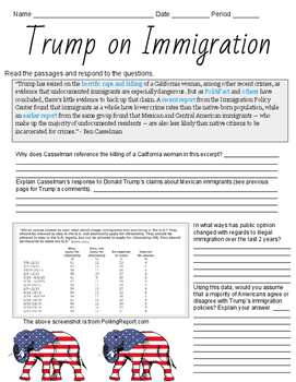 2016 President Donald Trump DBQ Essay Worksheets Politics
