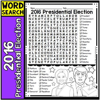 Presidential Election 2016 Word Search: Perfect for Election Day