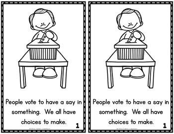 Election Materials for Kindergarten!