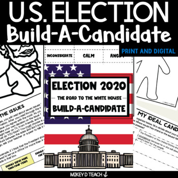 Election Activities - Build-a-Candidate Pack - FIVE Activities!