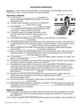 Election Campaigns, AMERICAN GOVERNMENT LESSON 40 of 105, Activity+Quiz