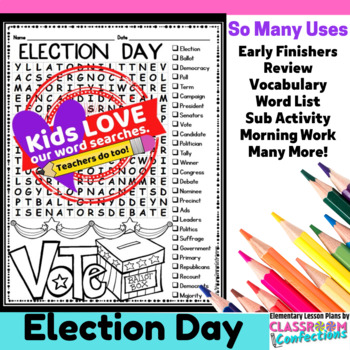 Election Day Activity: (Election Day Vocabulary / Election Day Word Search)