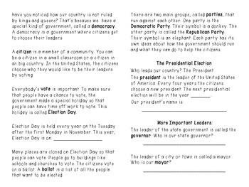 Election Day- A non-fiction minibook