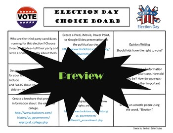 Election Day Choice Board Holiday Activities Menu Project Rubric Tic Tac Toe