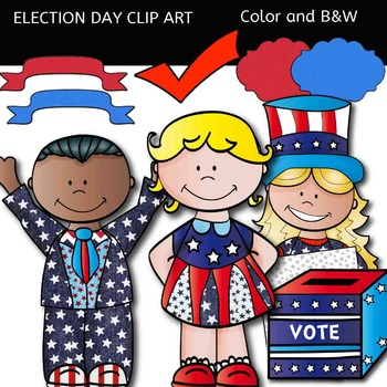 Election Day Clip art - Color and black/white- 44 items!