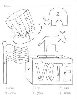 Election Day Color By Number by Caitlin Brooks | TpT