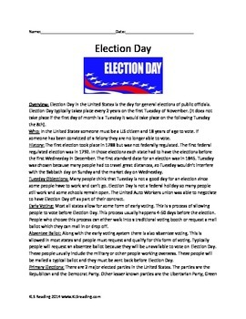 Election Day - Full History - Activities Packet Review Article 10 activities