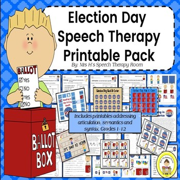 Election Day Speech Therapy Printable Pack