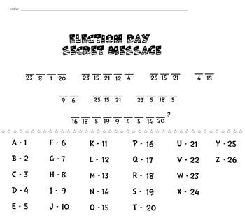 Election Day Secret Message Decoder Printable