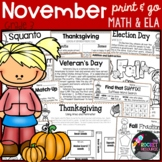 Election Day, Veterans Day, Thanksgiving: November-themed worksheets