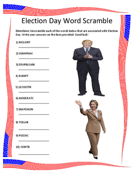 Election Day Word Scramble- 10 Words