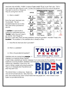 Election Day Worksheet with Answer Key