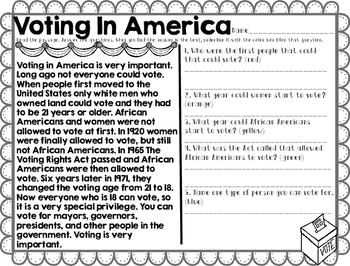 Election Day Worksheets Reading Passages Vocabulary Packet