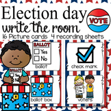 Election Day Write the Room - 16 cards four versions, four recording sheets