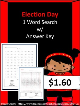 Election/ Election Day Word Search w/ Answer Key
