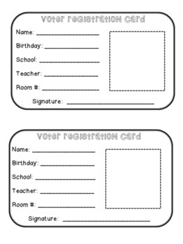 Election Fun: Voter Registration Card & President Writing