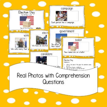 Election Day Emergent Reader and Song with Comprehension Questions-Flash Freebie