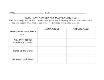 Election Newspaper Scavenger Hunt