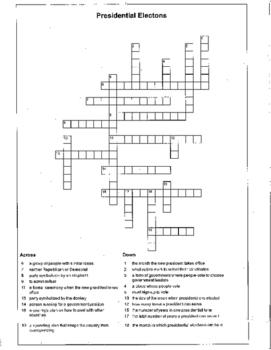 Election Presidential Crossword