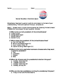 Election Quiz- Elementary level
