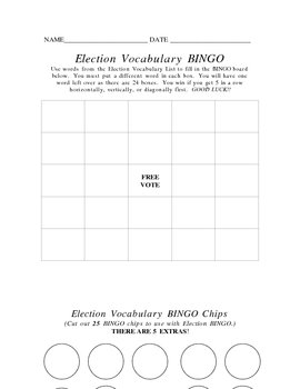 Election Vocabulary BINGO and Chips