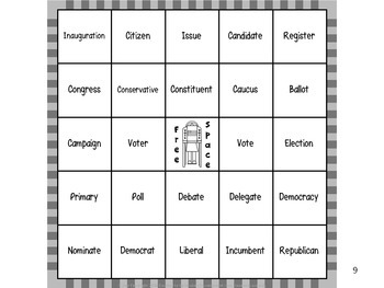 Election Vocabulary Bingo