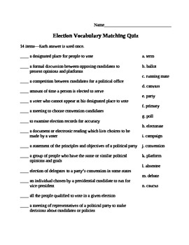 Election Vocabulary Matching Quiz