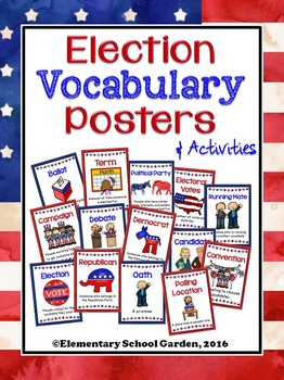 Election Vocabulary Posters, Worksheets, and Activities