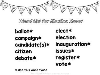 Election Vocabulary Scoot