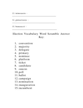 Election Vocabulary Word Scramble