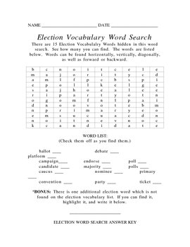Election Vocabulary Word Search