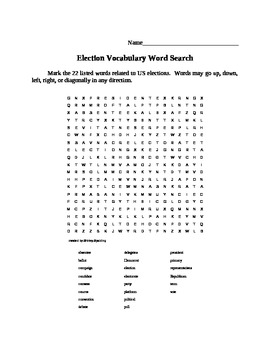 Election Vocabulary Word Search Puzzle