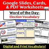 Election Vocabulary Word of the Day for Google Slides & PDF printable
