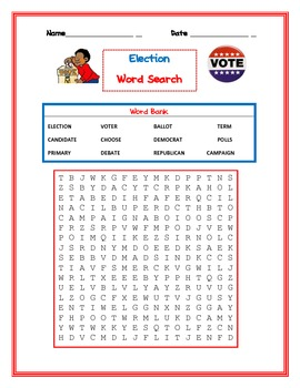 Election Word Search (voter, ballot, debate, candidate, etc)
