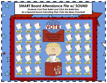 Election and Voting Themed SMART Board Attendance Activity w/ SOUND